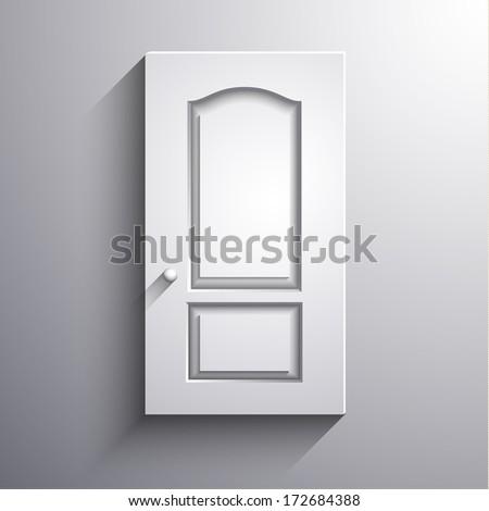 Abstract 3d closed  door illustration - eps10 vector - stock vector