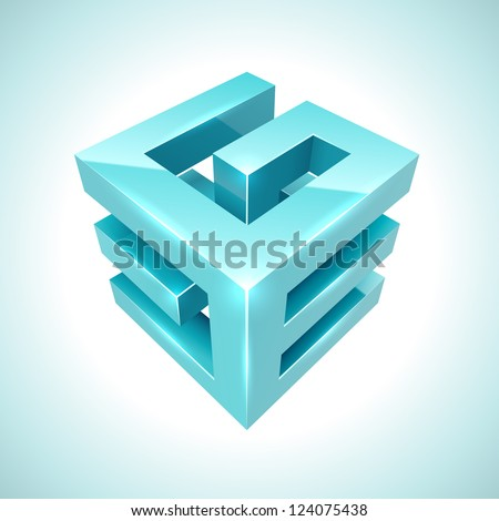 Abstract 3D cube cyan icon isolated on white background. - stock vector