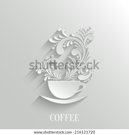 Abstract 3d Cup of Coffee with Floral Aroma Design Element with Shadow. Trendy Design Template. Easy paste to any Background - stock vector