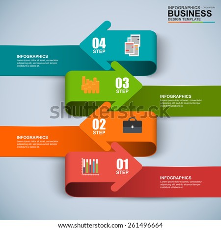 Abstract 3D digital business arrow Infographic - stock vector
