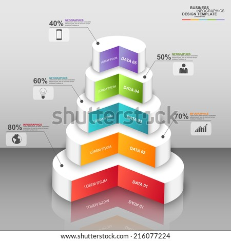 Abstract 3D digital business circle Infographic - stock vector