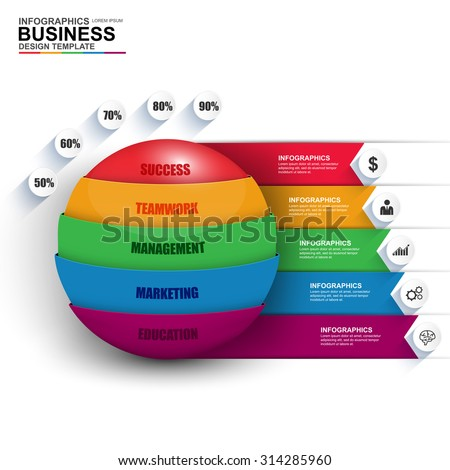 Abstract 3D digital business Infographic. Can be used for workflow process, business stair, banner, diagram, number options, work plan, web design. - stock vector