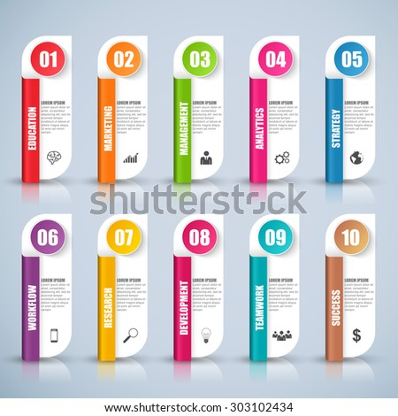 Abstract 3D digital business marketing Infographic. Can be used for business concept with 10 options, banner, diagram, number options, work plan, web design. - stock vector