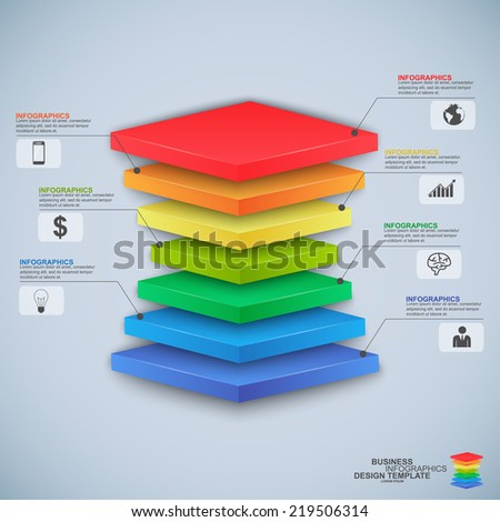 Abstract 3D digital business pyramid Infographic - stock vector