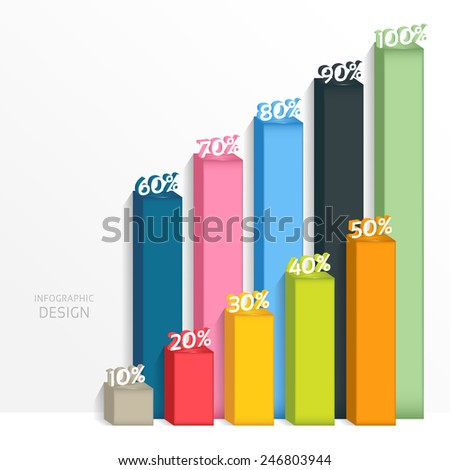 Abstract 3D digital illustration graph. Vector illustration can be used for workflow layout, diagram, number options, web design. - stock vector