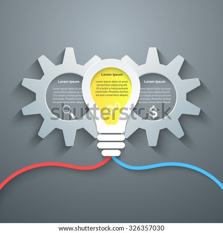 Abstract 3D digital illustration Infographic. Gear icon. Cogwheel icon. - stock vector