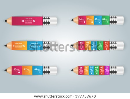 Abstract 3D digital illustration Infographic. Pencil icon. - stock vector