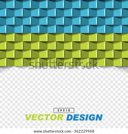 abstract 3d frontal pattern elements on checkered background. eps10 vector design - stock vector