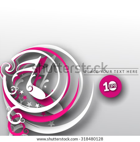 Abstract 3D Geometric Music Note Design, eps10 vector - stock vector