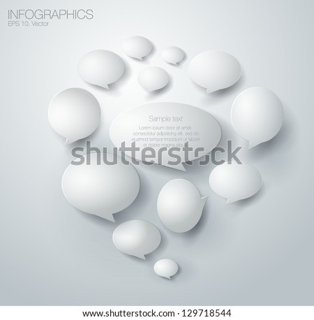 Abstract 3D Geometrical Design of bubble speech - stock vector