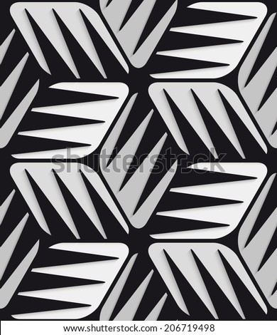 Abstract 3d geometrical seamless background. Gray 3d cubes striped with black. - stock vector