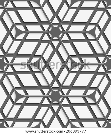 Abstract 3d geometrical seamless background. White geometrical detailed with gray net and cut out of paper effect on gray background.