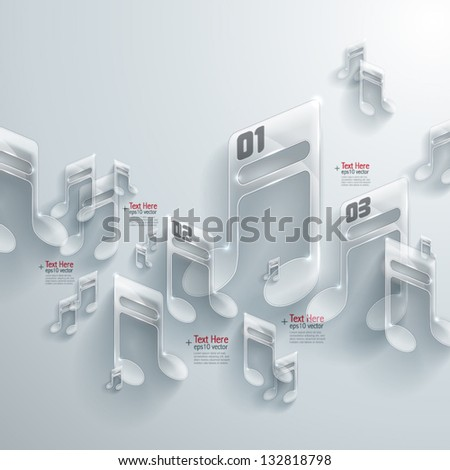 Abstract 3D Glass Melodies - stock vector