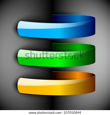 Abstract 3D glossy ribbons in blue, green and yellow color isolated on grey with text space.EPS 10. can be use as icons, element, banner or background. - stock vector