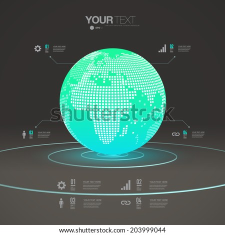 Abstract 3D glowing earth sphere design template with infographic elements Eps 10 stock vector illustration  - stock vector