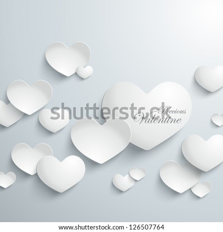 Abstract 3D Heart Shapes Paper Graphic - stock vector