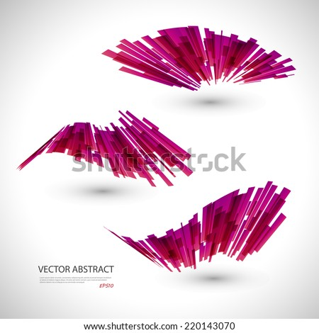 Abstract 3d icon set with red ribbon elements. Design elements with spiral motion.  - stock vector