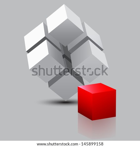 abstract 3d illustration of cube assembling from blocks - stock vector
