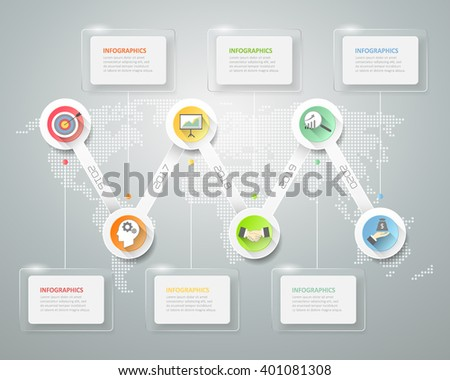 Abstract 3d infographic template 6 steps, can be used for workflow layout, diagram, number options, graphic or website layout. - stock vector
