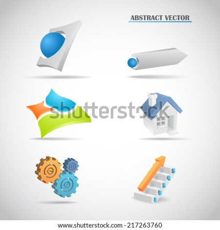 Abstract 3d logo set arrows house gears ladder balls planes vector illustration - stock vector