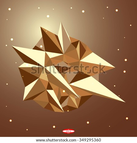 abstract 3d low polygonal geometric shape isolated on beige background. vector illustration - stock vector