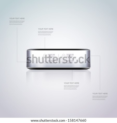 Abstract 3D metal box with your text  Eps 10 vector illustration - stock vector