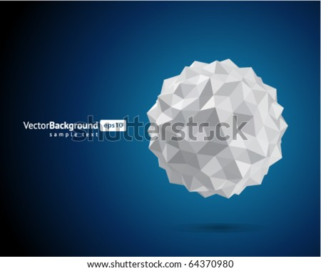 Abstract 3d origami paper sphere vector background - stock vector