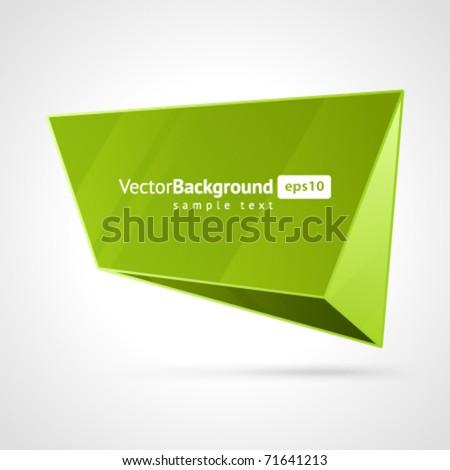 Abstract 3d origami polygonal speech bubble vector background - stock vector