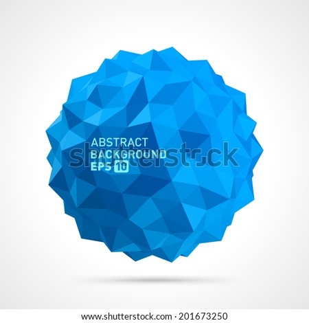 Abstract 3d origami polygonal sphere vector design element  - stock vector