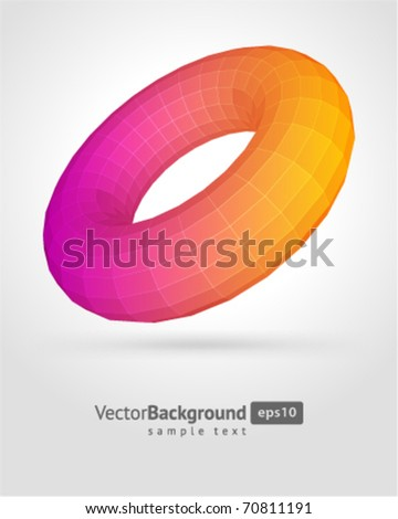 Abstract 3d origami polygonal torus vector background - stock vector