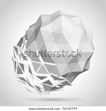 Abstract 3d origami sphere vector background. Eps 10. - stock vector