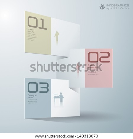 Abstract 3D Paper background Infographics. - stock vector