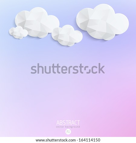 Abstract 3D Paper Clouds with blurred pink and blue background  - stock vector