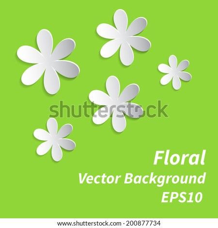 Abstract 3D Paper Floral Background. Vector illustration EPS10 - stock vector