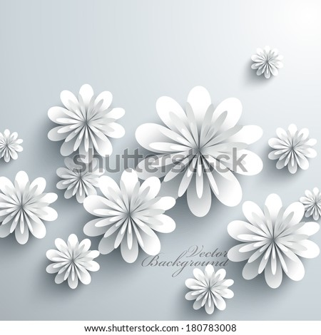 Abstract 3D Paper Flowers - stock vector