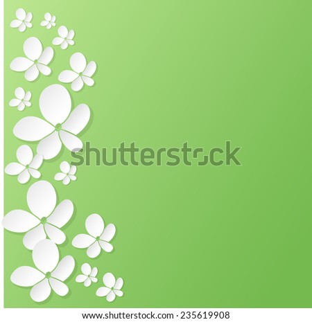 Abstract 3D paper flowers background with place for text. Vector illustration. - stock vector