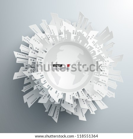 Abstract 3D Paper Globe - stock vector