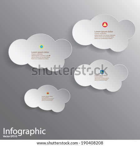 Abstract 3D Paper Graphics for use as illustration or background, Cloud shape