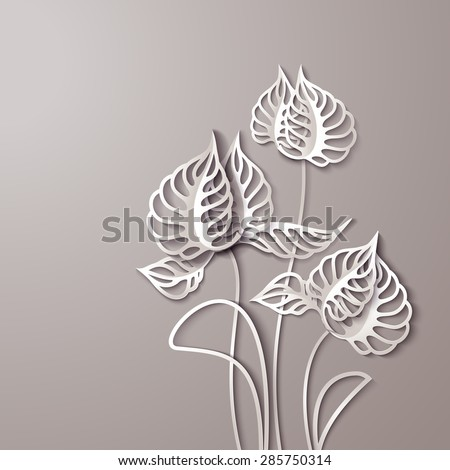 Abstract 3D Paper Gray Flowers - stock vector