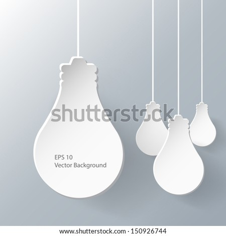 Abstract 3D paper idea bulb background, you can text here. - stock vector