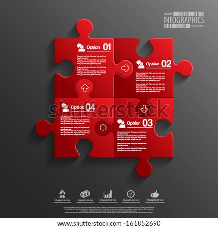 Abstract 3D puzzle infographic - stock vector