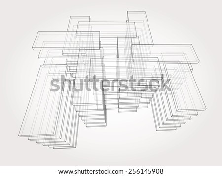 Abstract 3D rectangles geometrical vector background. - stock vector