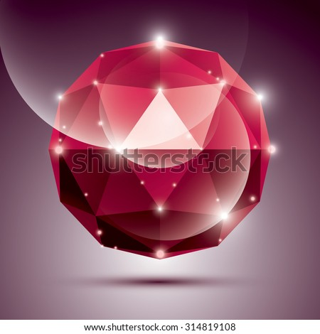 Abstract 3D red shiny sphere with sparkles, ruby glossy orb created from triangles, eps10. - stock vector