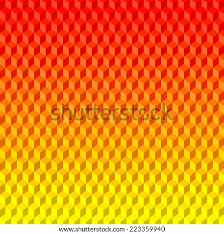 Abstract 3D Red Yellow Background from Cubes - stock vector