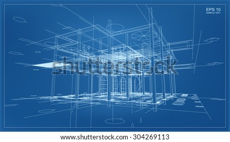 Blueprint stock images royalty free images vectors shutterstock abstract 3d render of building wireframe structure vector construction graphic idea malvernweather Image collections
