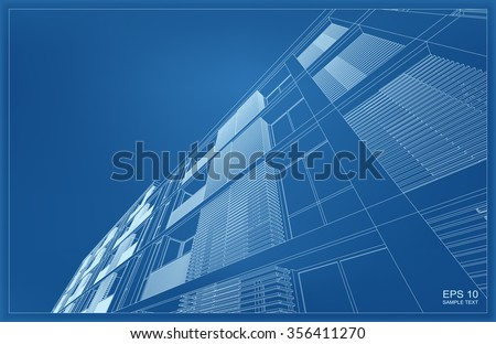 Abstract 3D render of building wireframe structure. Vector construction graphic idea. - stock vector