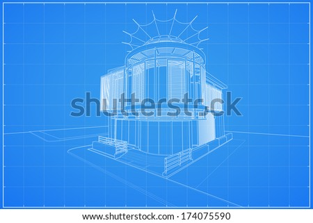 Abstract 3D render of building wireframe - Vector illustration - stock vector