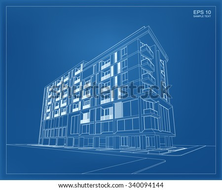 Abstract 3D render of building wireframe. Vector illustration. - stock vector