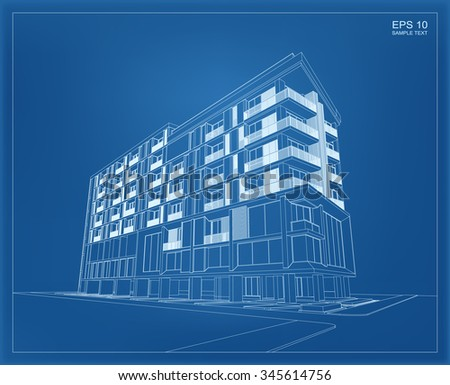 Abstract 3 d render building wireframe vector stock vector 345614756 abstract 3d render of building wireframe vector schematic design of architecture with blueprint background malvernweather Choice Image