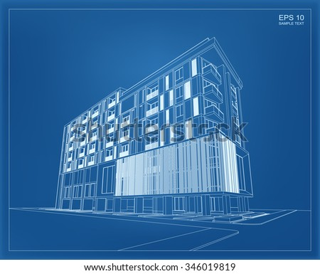Abstract 3 d render building wireframe vector stock vector 346019819 abstract 3d render of building wireframe vector schematic design of architecture with blueprint background malvernweather Image collections